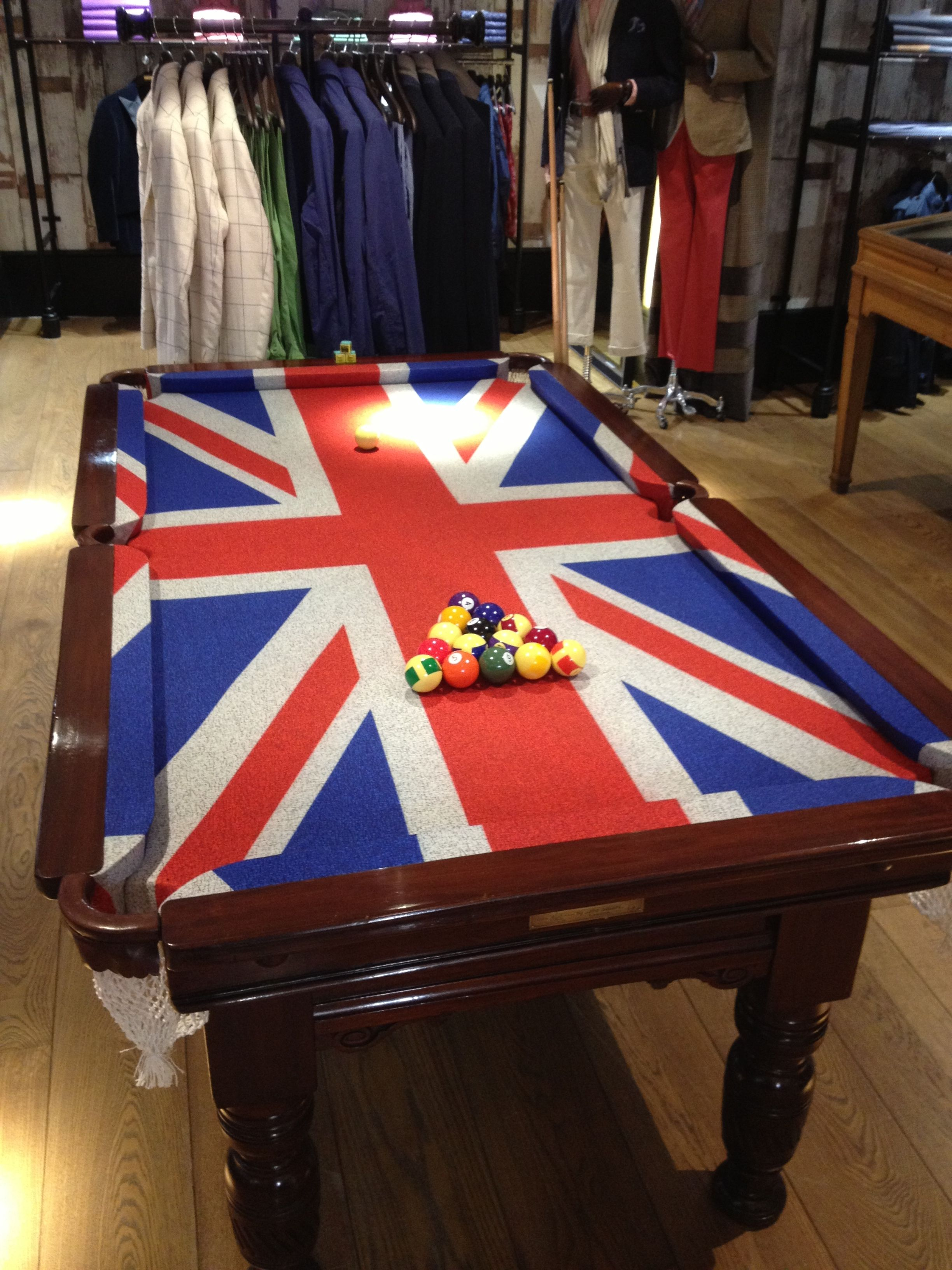 Antique Snooker Pool Table With Union Jack Cloth At Hackett