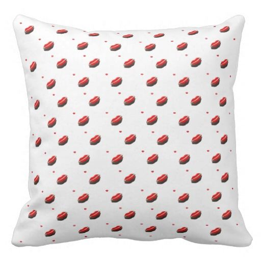 Red Lips Pattern Throw Pillow. #prety #mouth #lips #elegant #photograph #home #accessories