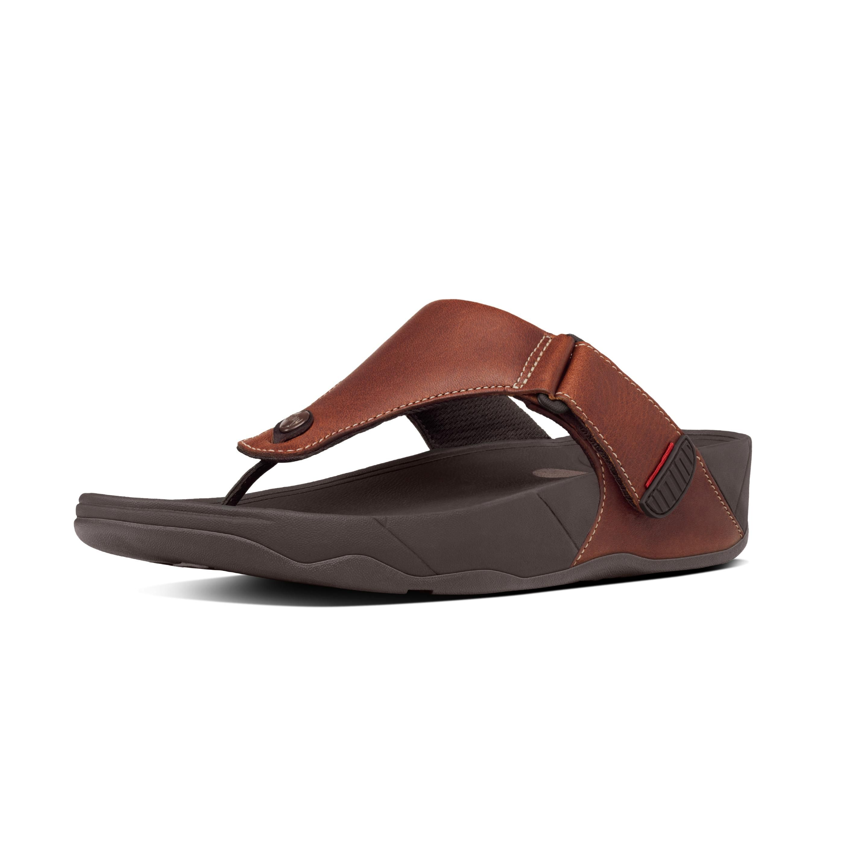 eb65c07ab3a866 FitFlop Trakk II Leather Flip Flops Dark Tan