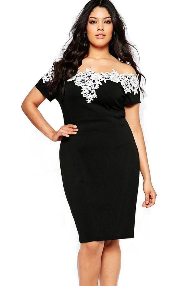 e8f6027505 Lace Crochet Off Shoulder Black Plus Size Pencil Dress ChicLike.com