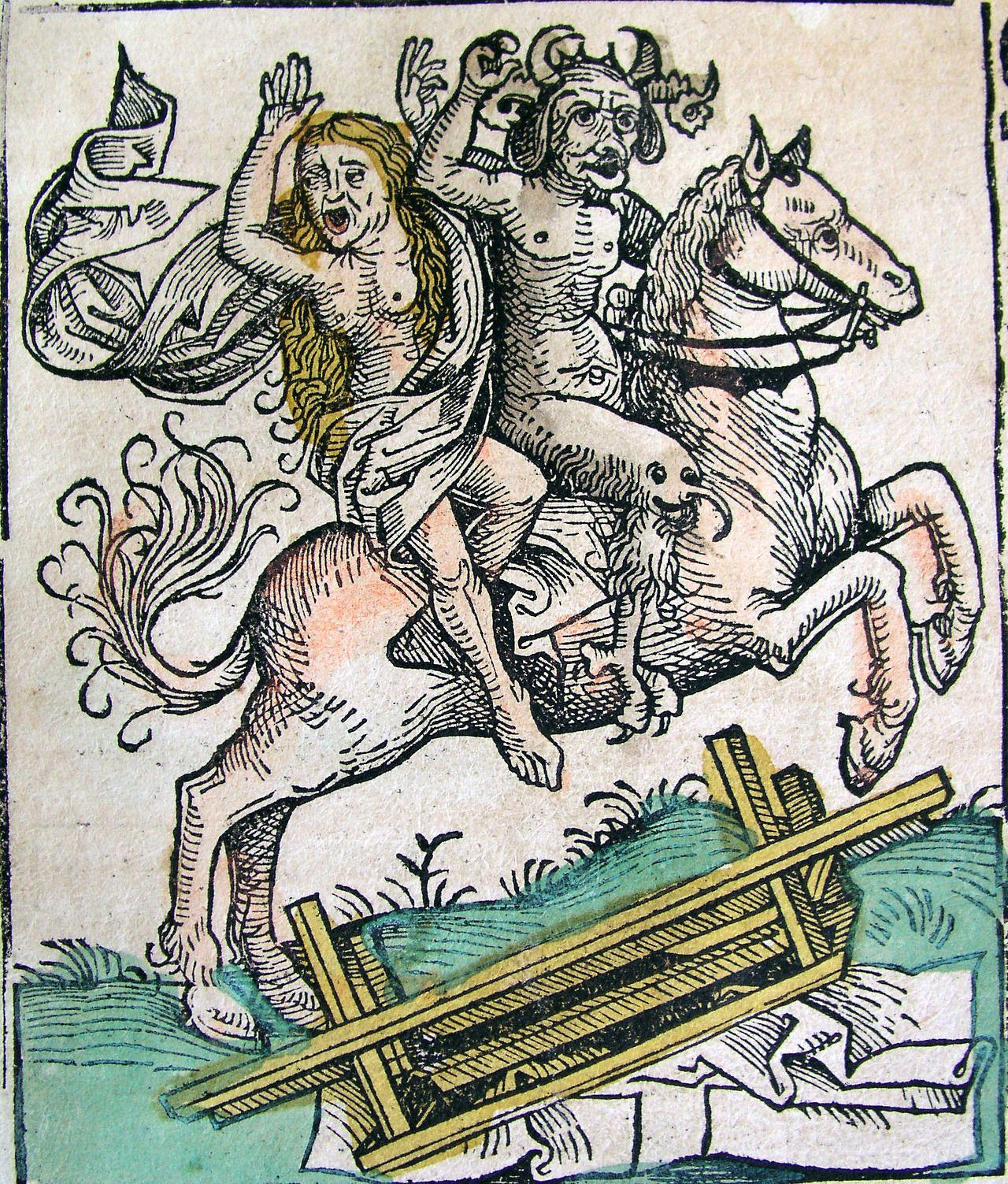 Hartmann Schedel, Nuremberg Chronicle (1493) Devil and woman on horseback.