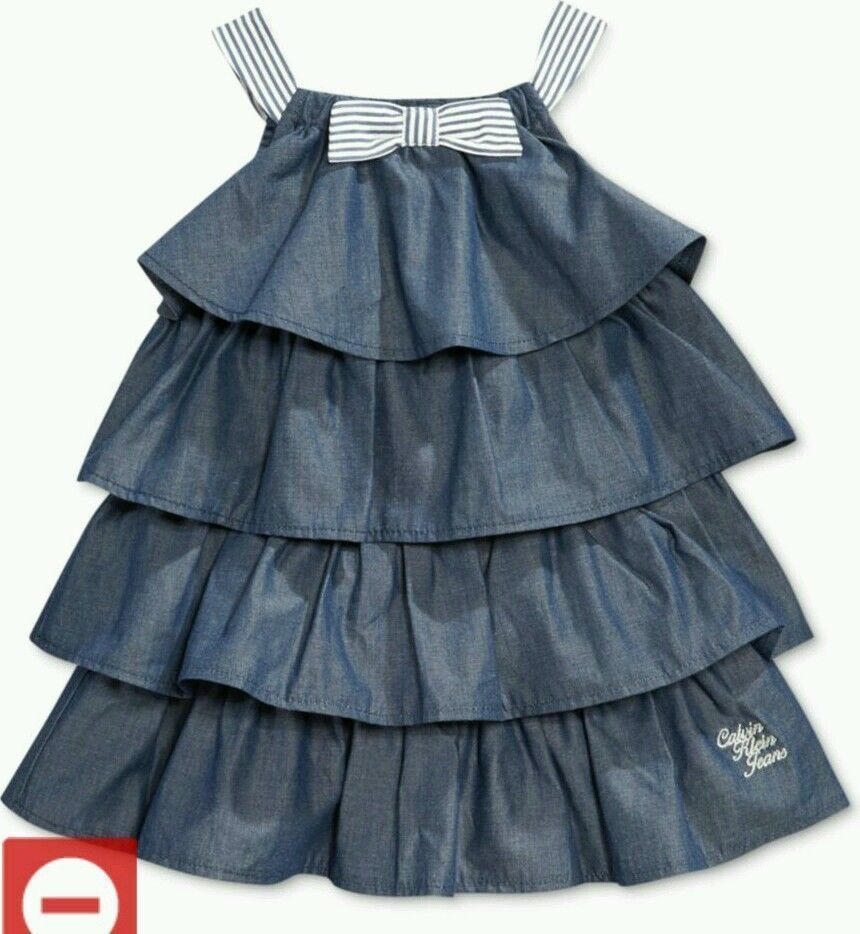 004026f1d Calvin Klein Baby Girl Ruffled Denim Dress sizes 12-24 months MSRP ...