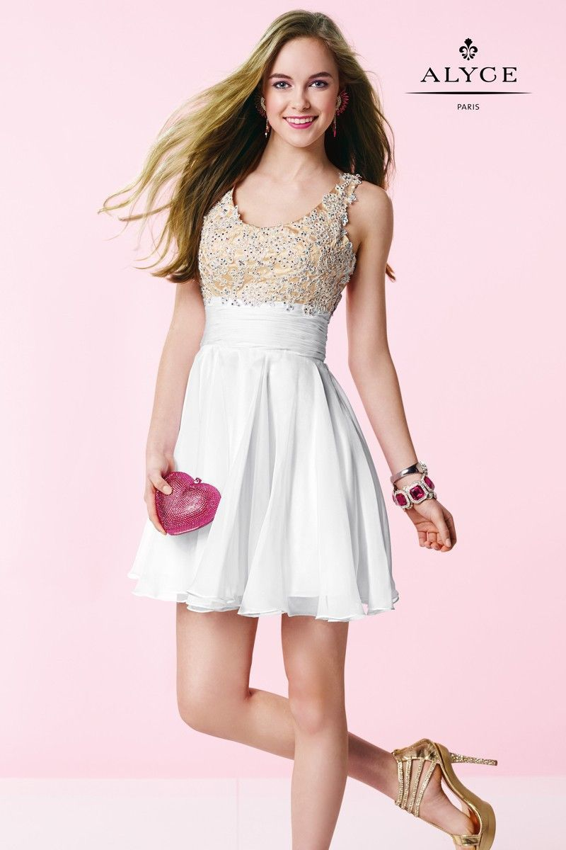 Lace over scoop neck chiffon short dress white red black