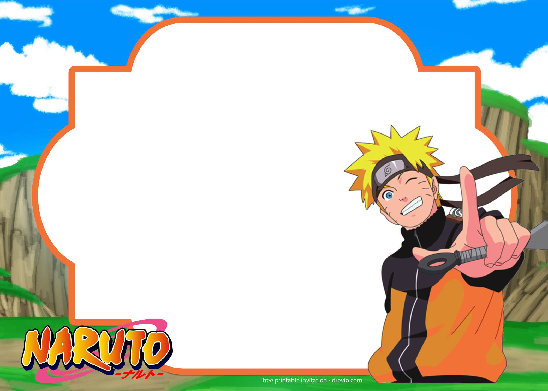 Cool Free Printable Naruto Birthday Invitation Template