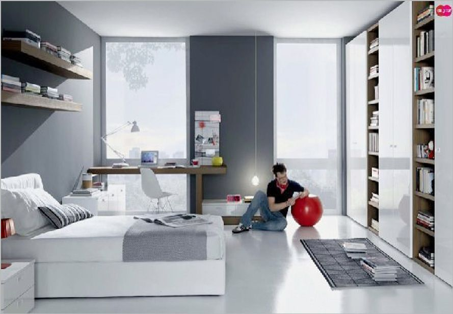 grey white contemporary teenagers room design with cool study room misuraemme teens room design 14 - Minimalist Teen Room Interior