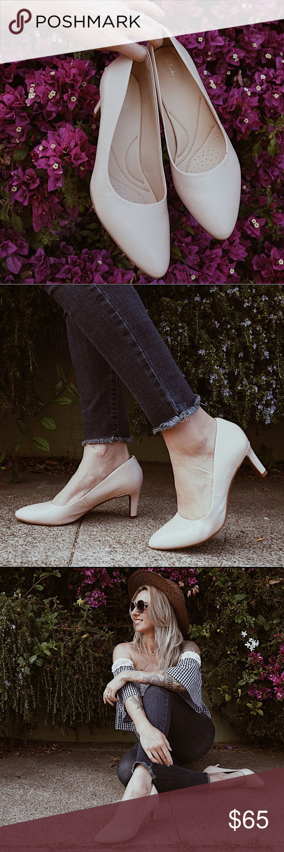 a0dc5bda1615 Clarks Calla Rose Pumps in Cream Add refined polish to dressy looks in the  chic leather and all-day comfort of these Calla Rose pumps from Clarks  Artisan.