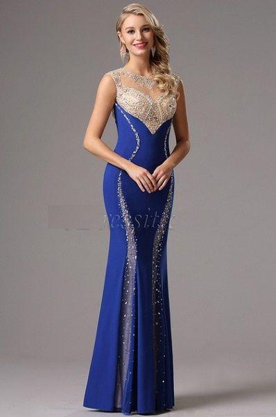 0fefa052b Vestido largo azul Rey Con Detalles Elegantes.