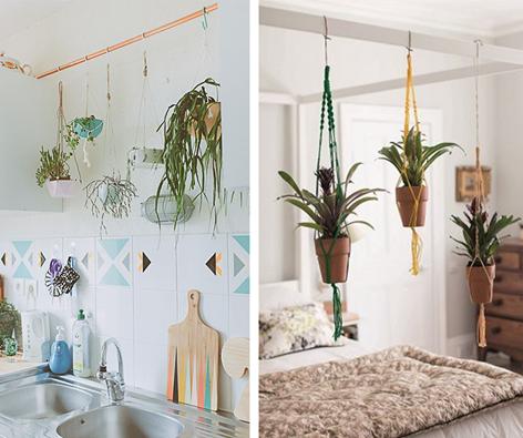Sonhe com os anjos e com flores também: vasos pendentes do dossel criam uma atmosfera renovadora no dormitório! Ou que tal na cozinha?