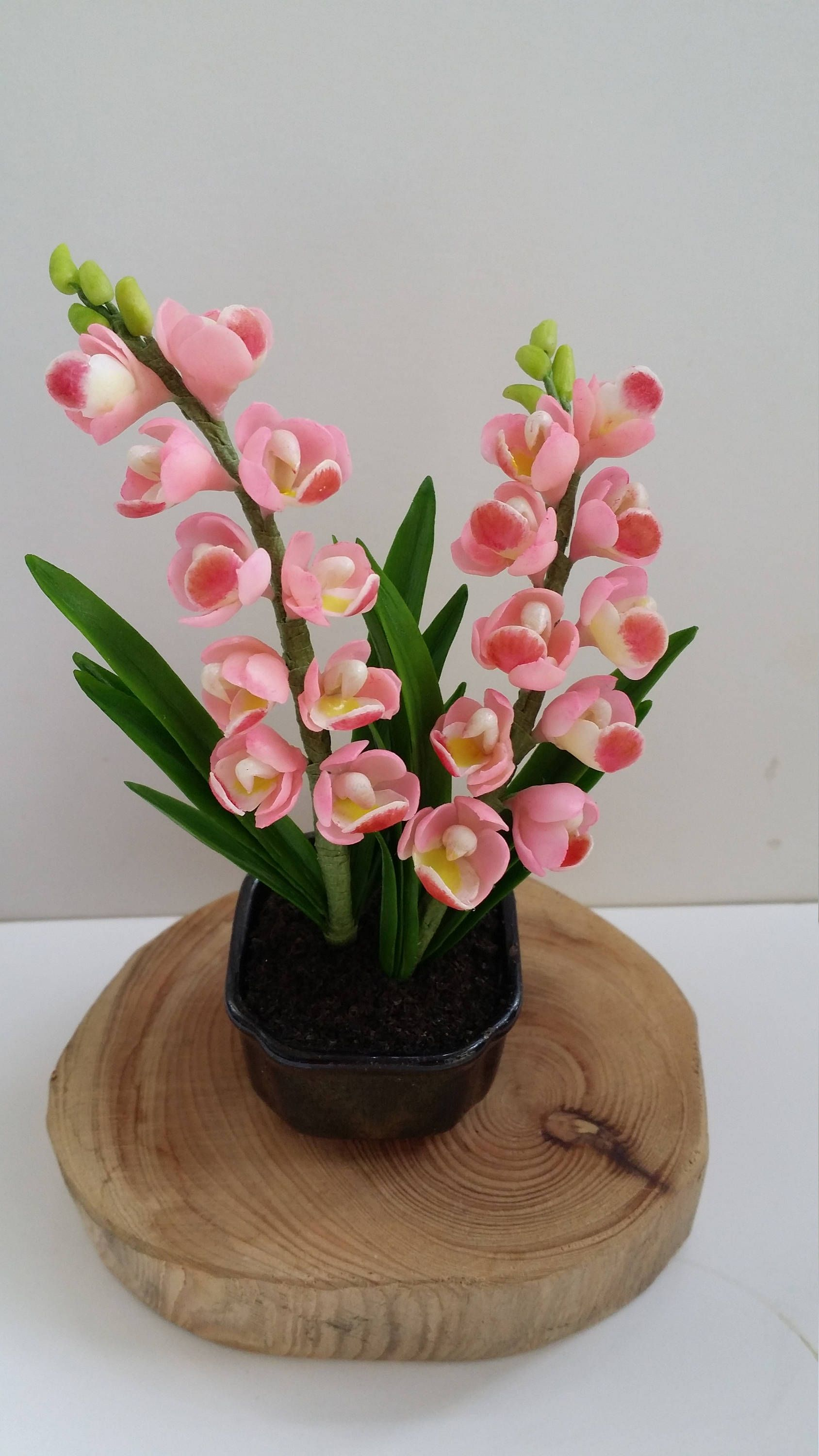 Items Similar To Handmade Floral Arrangement Home Decor Polymer Clay Flower Gift Cymbidium Orchid Elegant Gift For Her Women Mother Birthday On Etsy Polymer Clay Flowers Clay Flowers Flower Gift