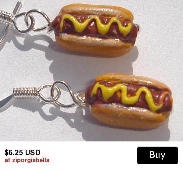 petite ceramic hot dogs with mustard from Peru pierced dangle hand