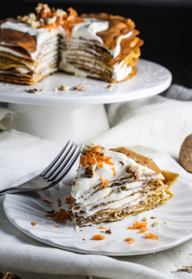 Carrot Cake Crepe Cake with Whipped Cream Cheese Frosting {Katie at the Kitchen Door}
