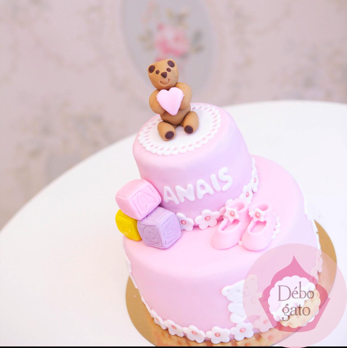 G teau 1 an baby shower naissance noeud perles girly rose bonbon rose bleu fleurs - Gateau 1 an fille ...