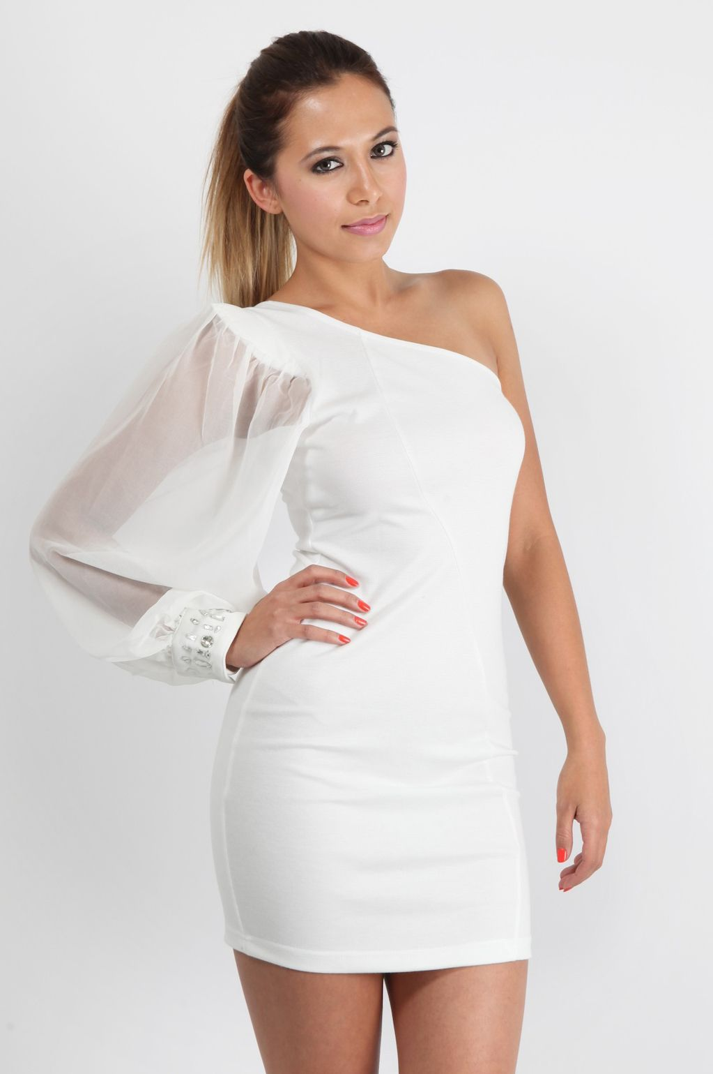 One Shoulder White Cocktail Dress - Ocodea.com