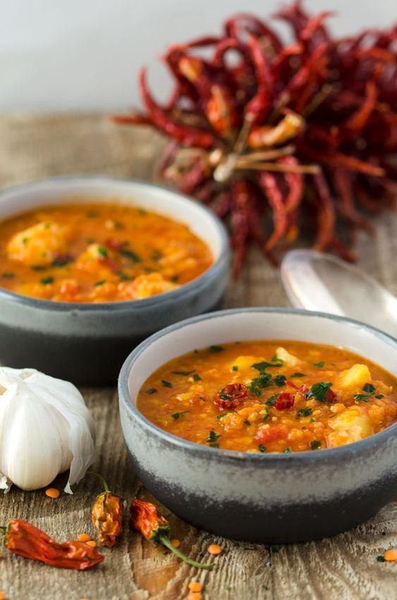 Mild curry with lentils, cauliflower and potatoes   - Kochen -