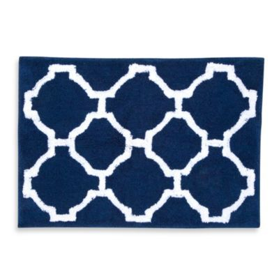 Jill Rosenwald Hampton Links Bath Rug In NavyWhite - Navy blue and white bath rug for bathroom decorating ideas