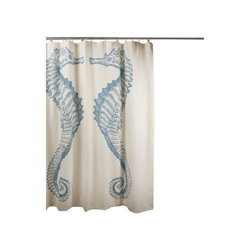Seahorse Cotton Single Shower Curtain Beach Theme Shower Curtain