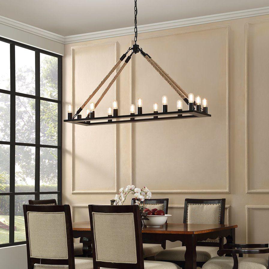 Gagny 14 Light Candle Style Chandelier Modern Chandelier Rustic Chandelier Rectangular Chandelier
