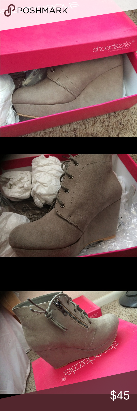 Light gray suede booties Super cute! Brand new. Never worn. I have a black pair identical and they are so comfortable! Shoe Dazzle Shoes Heels