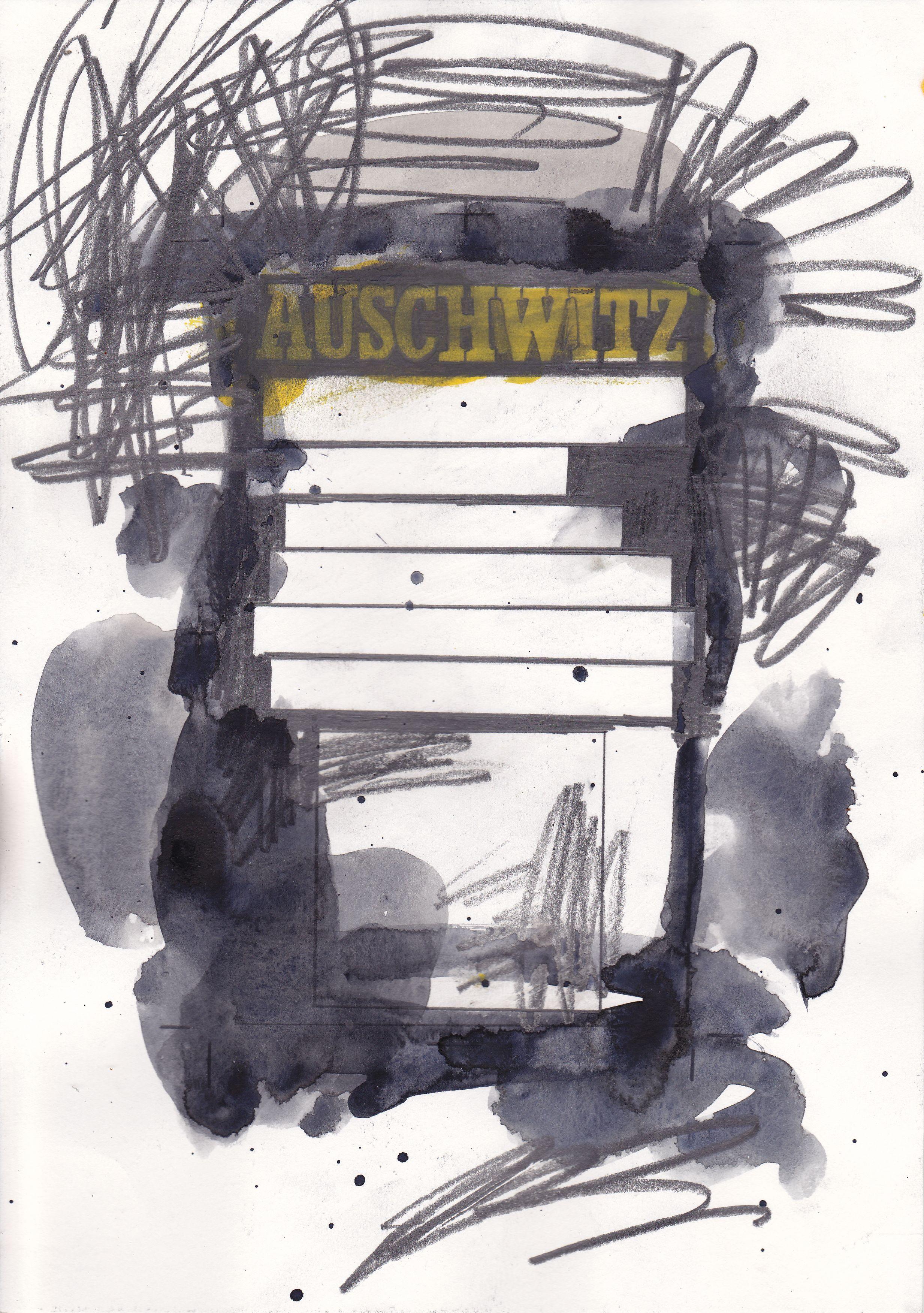 Auschwitz 21 x 29.7 cm  Watercolour & graphite on paper