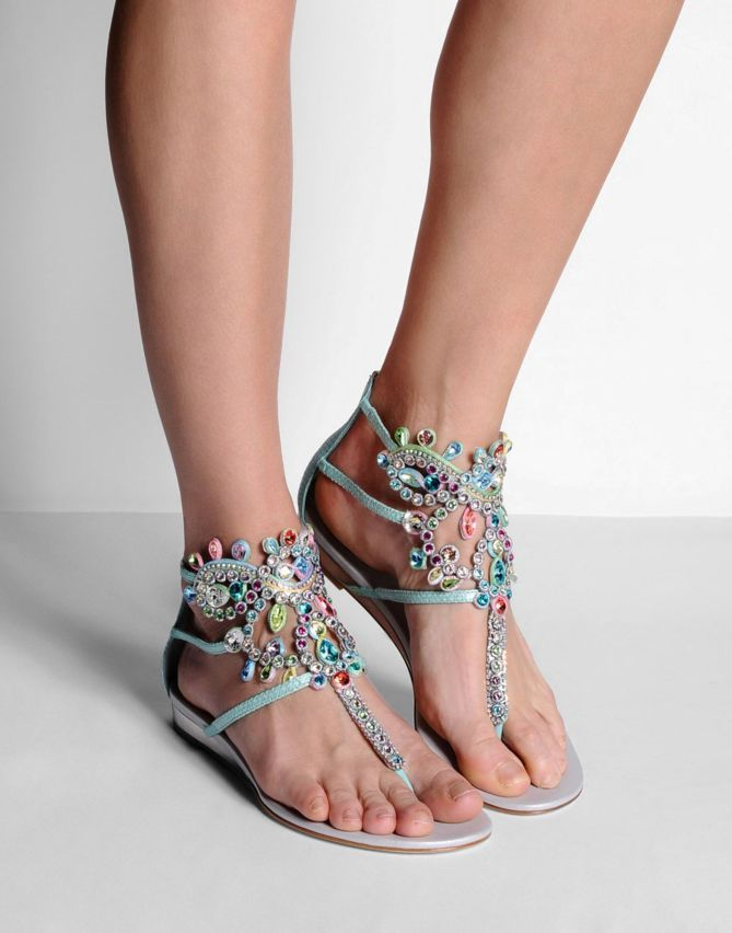 33b99146af RENE' CAOVILLA Sandals with Rhinestone detailing, printed leather,  laminated effect, lamé fabric, zip closure & leather sole. By Chalany High …
