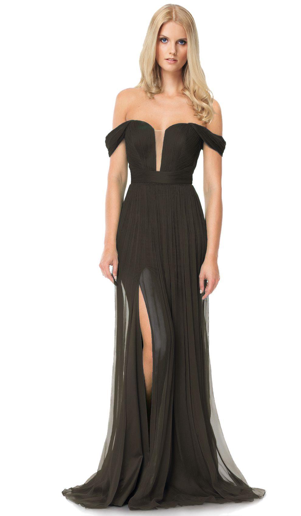 Cristallini Off The Shoulder Black Gown Designer Dress Hire And
