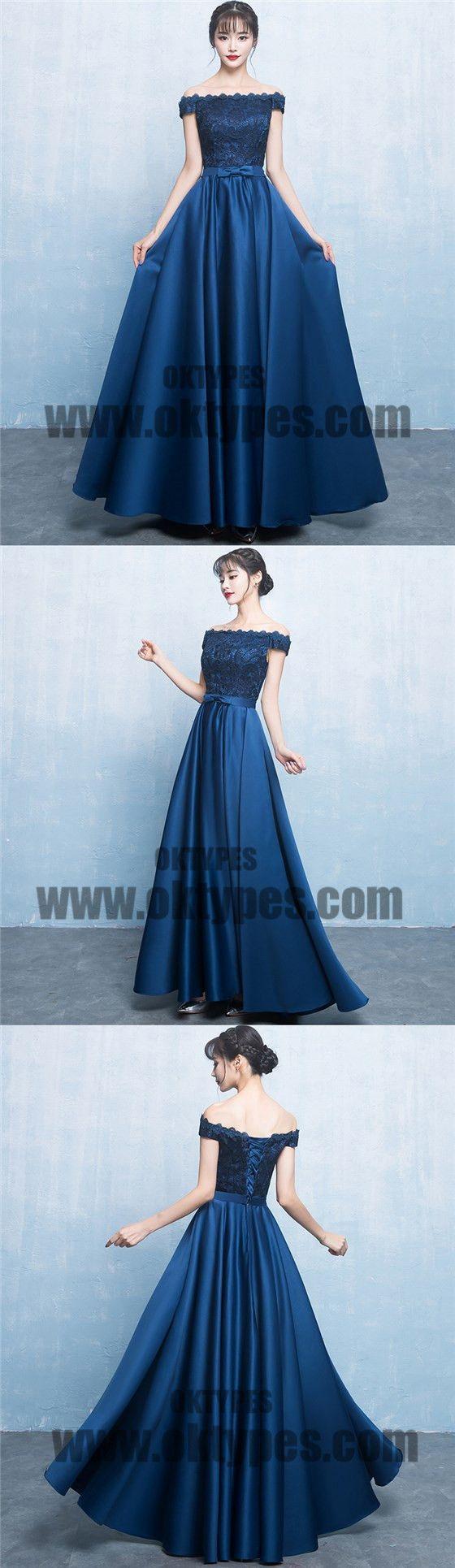 Royal blue long prom dresses lace prom dresses offshoulder prom