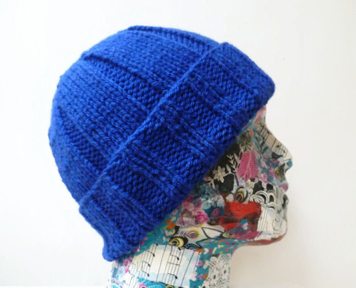 17fc5a4ea57 Men Blue Watch Cap - Chunky Hand Knitted Watchman Cap - Men Acrylic Chunky Beanie  Hat