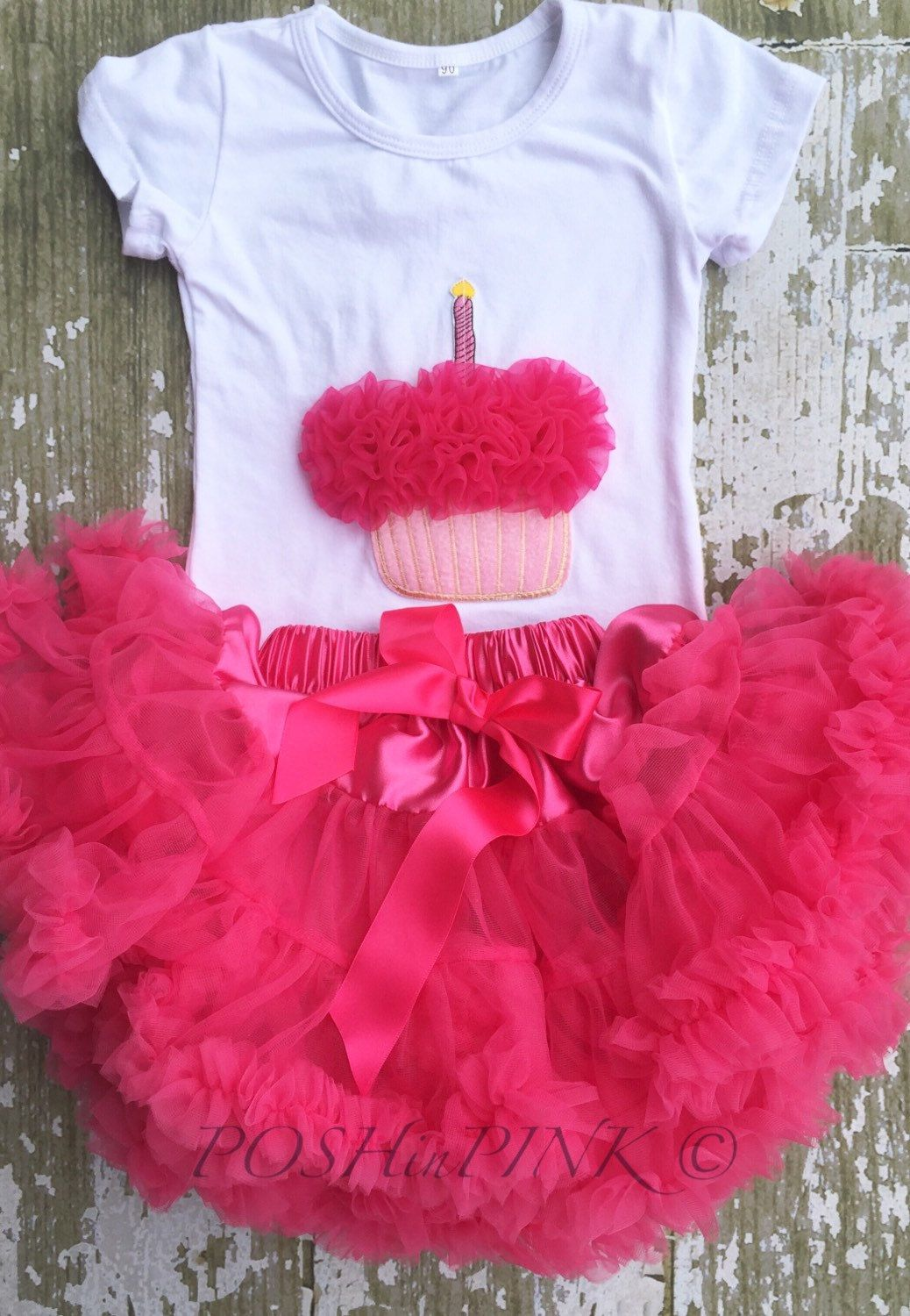 Hot pink birthday cupcake outfit! Cup cake chiffon pettiskirt, kids, petti skirt, toddler baby, girls skirt, toddler, baby, fluffy, outfit, by POSHinPINKKIDS on Etsy