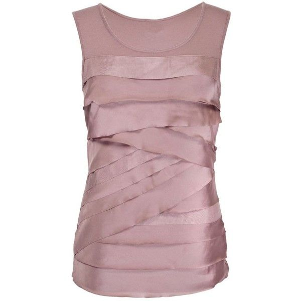 Light Pink Short Sleeve Tiered Top ($20) ❤ liked on Polyvore featuring tops, tank tops, women's clothing, brown tops, short sleeve tops, jersey tank, light pink top and jersey top