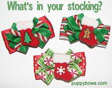 Christmas stocking dog bows