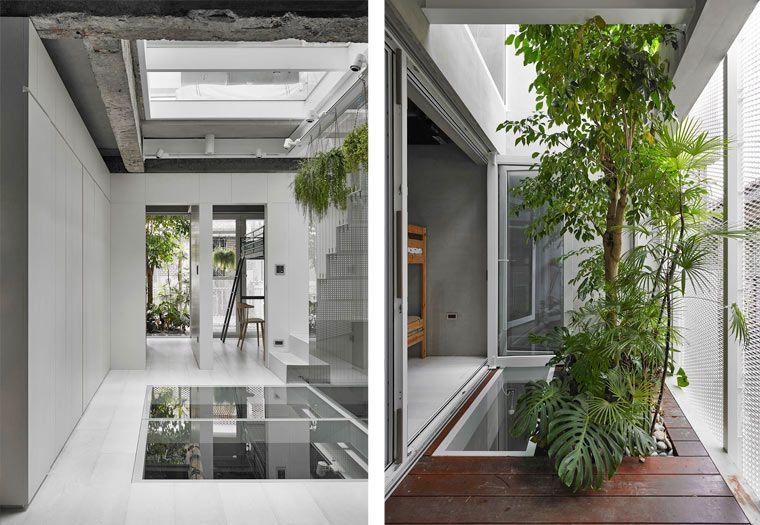挑高天井與自然植栽 台北42 坪水泥粉光三層樓透天長型屋 Space