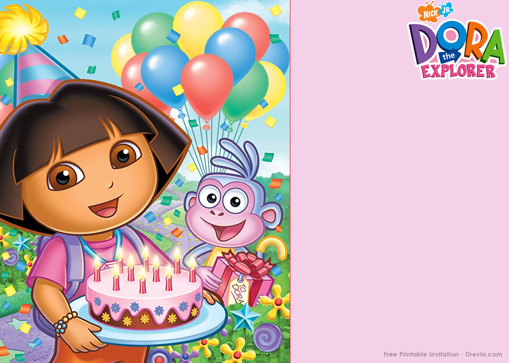 FREE Printable Dora the Explorer Party Invitation Template | Drevio Invitations Design