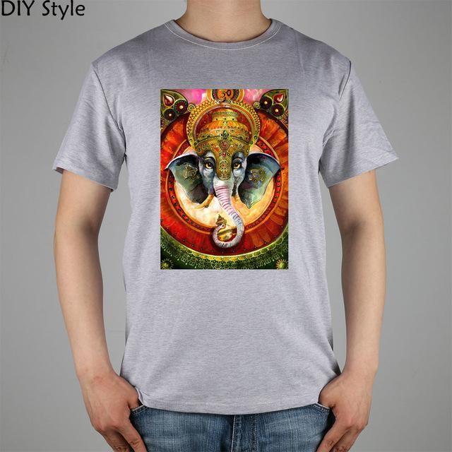 Trippy Ganesh Art images T-shirt Top Lycra Cotton Men T shirt New DIY Style