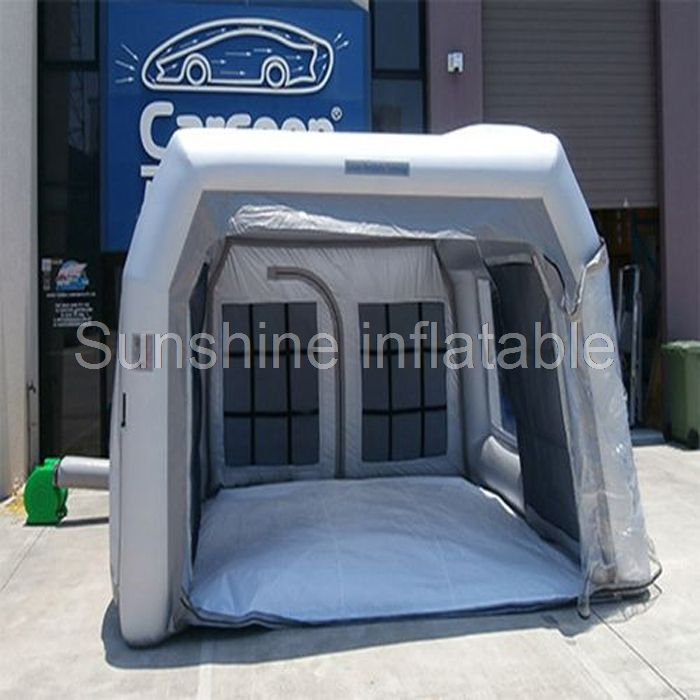 New Design High Quality 4m Mobile Sliver Grey Inflatable Spray Booth For Car Garage Small Paint Booth For Sale Affiliate Paint Booth Spray Booth Design