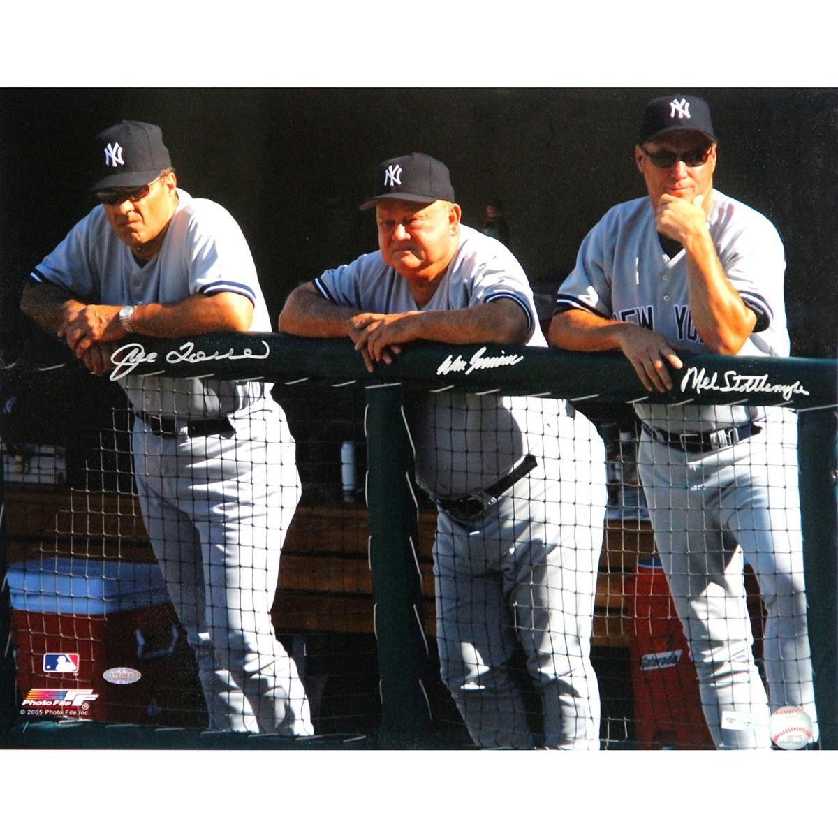 Joe Torre Don Zimmer And Mel Stottlemyre Triple Signed Dugout 16x20 Photo Mlb Auth Joe Torre Dugout Sports