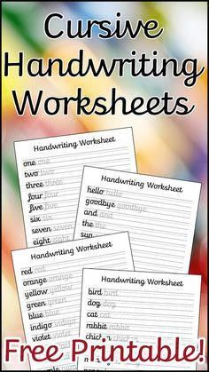 A Set Of 10 Cursive Handwriting Worksheets To Help Your Child