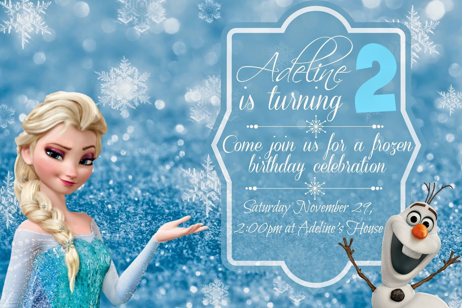 Orchard Girls: FREE Frozen Birthday Party Invitations and Menu +
