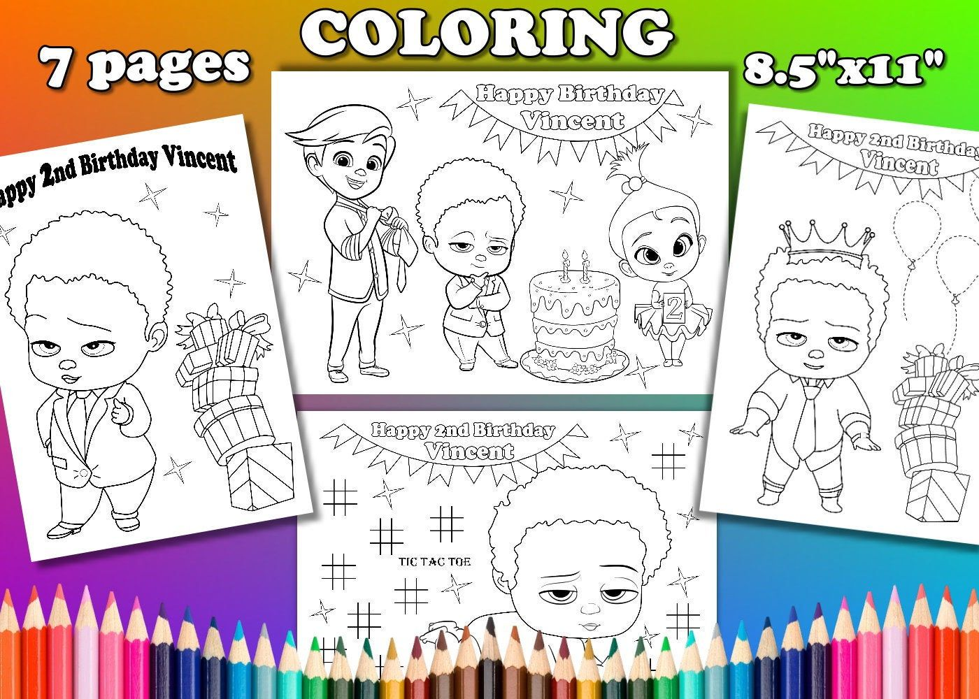 African American Boss Baby Boss Baby Birthday Party Favor Boss Baby Coloring Pages Pdf Fi Party Favors Baby Birthday Baby Coloring Pages Baby Birthday Party