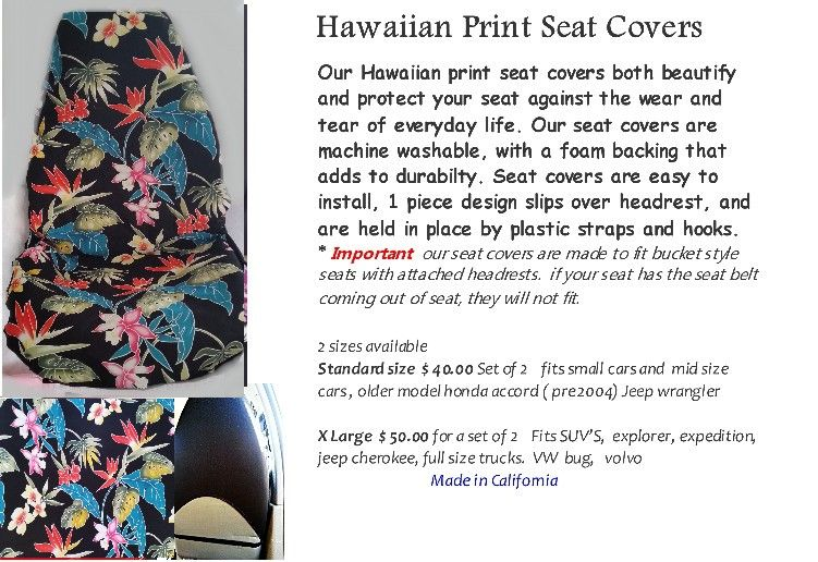 Hawaiian Print Car Seat Covers 100 Cotton With Tropical Floral See More