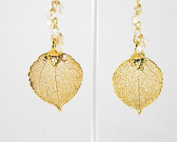 Reserved  Electroplated Aspen Leaf Earrings by MaryMorrisJewelry, $34.00 #nature earrings  #aspen tree  #dipped leaf