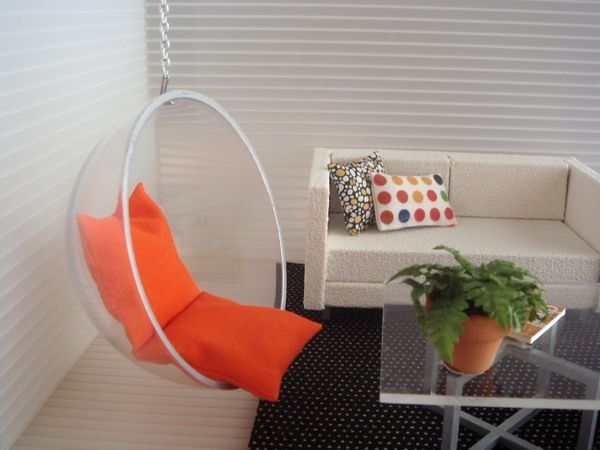 Diy doll furniture Simple Mini Doll Furnituremaybe Make Swinging Chair Out Of Half Prize Machine Bubble Pinterest Mini Doll Furnituremaybe Make Swinging Chair Out Of Half Prize