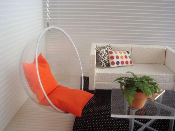 Mini doll furniture   maybe make swinging chair out of half a prize machine. Mini doll furniture   maybe make swinging chair out of half a