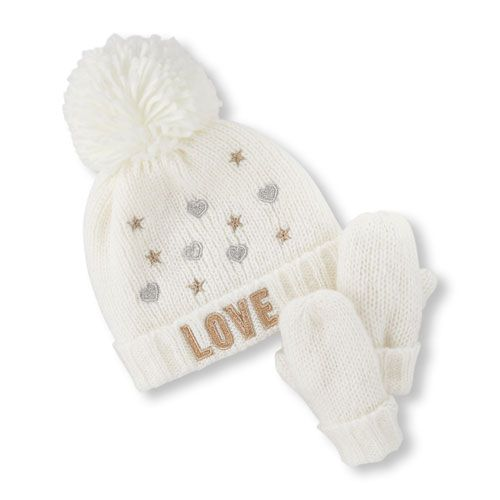05bc6fdaf5f Baby Girls Toddler Embellished  Love  Pom Pom Beanie And Mittens Set -  White Hat - The Children s Place