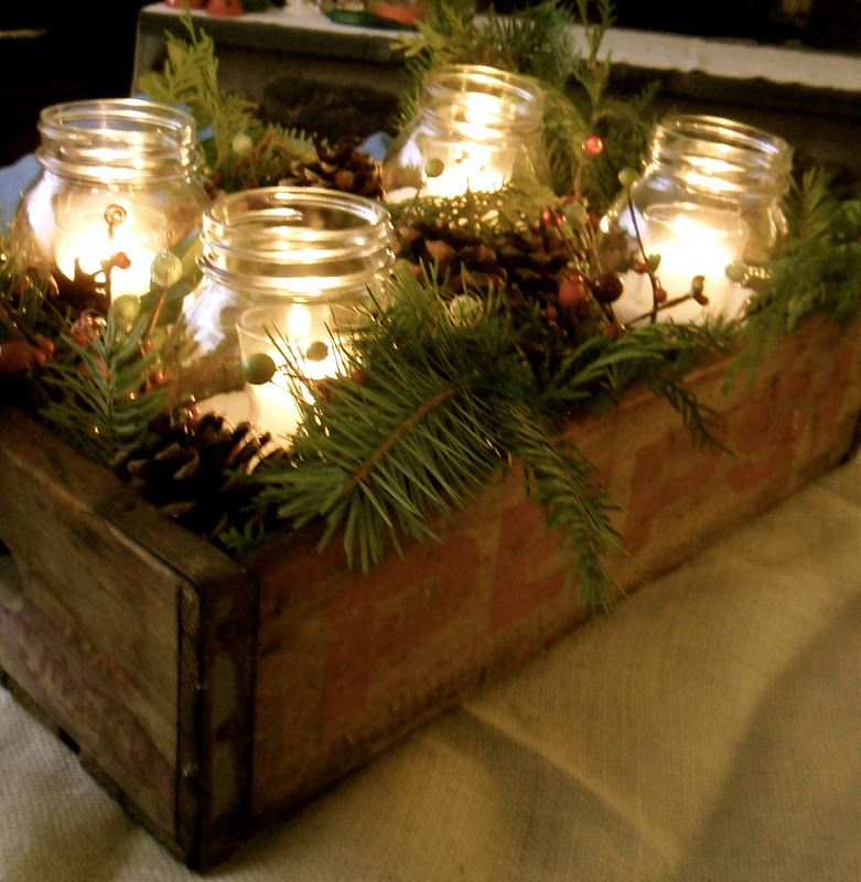 Winter Rustic Crate u0026 Pine Centerpieceadd red