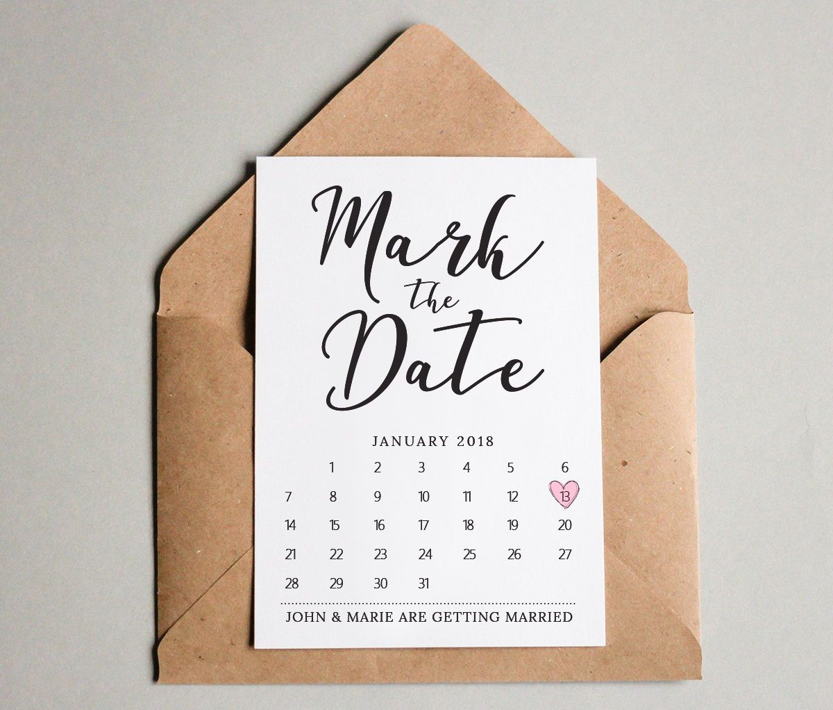 Mark the Date Calendar Card Template Wedding save the