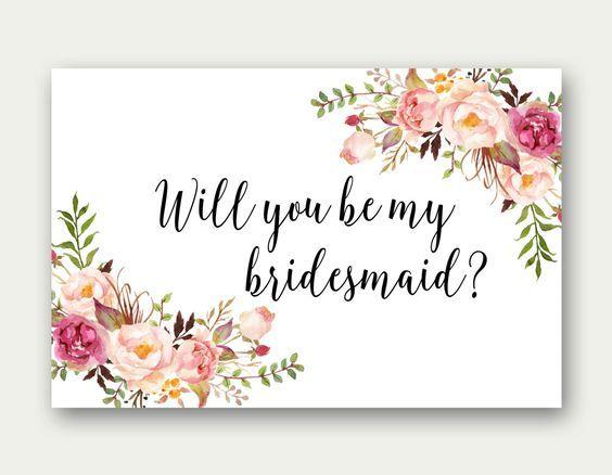 Minimalistic Wedding Bridesmaid Gift Bridesmaid Proposal Card Floral Design 4x6 Bridal Party Proposal Card