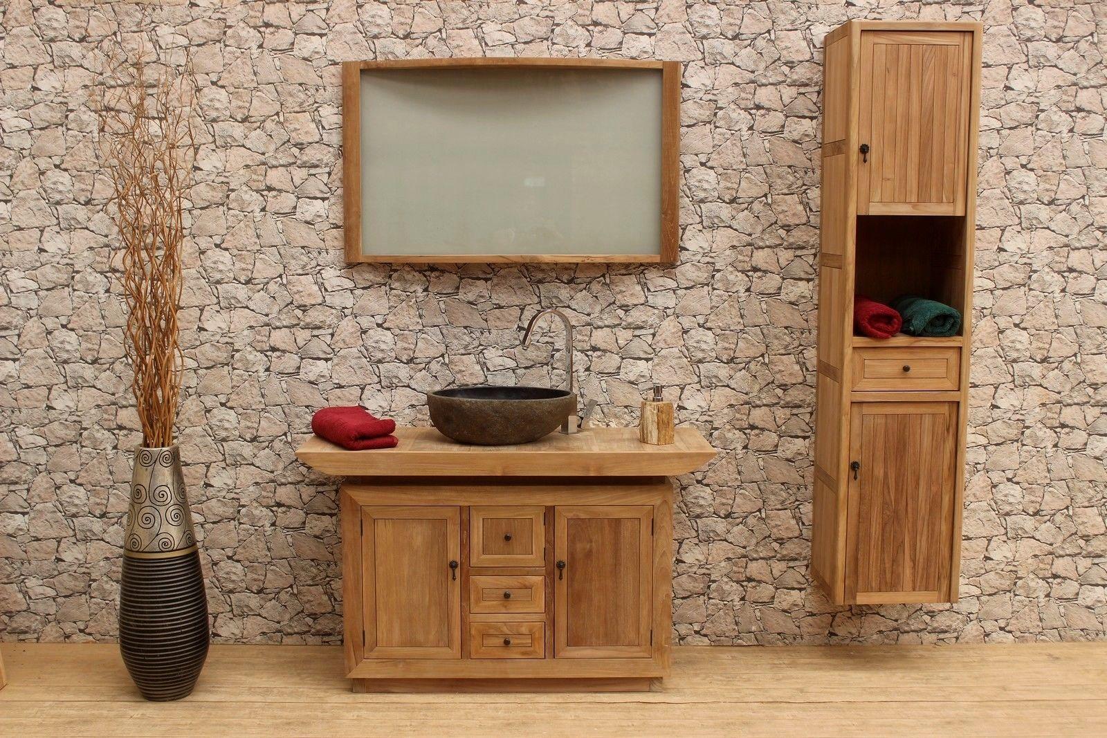 Badmobel Set Aus Teak Holz Bestehend Aus Einem Waschtisch Spiegel Und Hochschrank Teak Holz Teak Badmobel Set