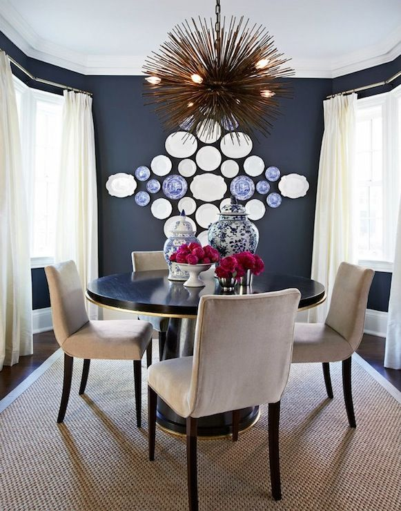 McGill Design Group Eclectic Dining Room With Dark Blue Paint Color And Ivory Pinch