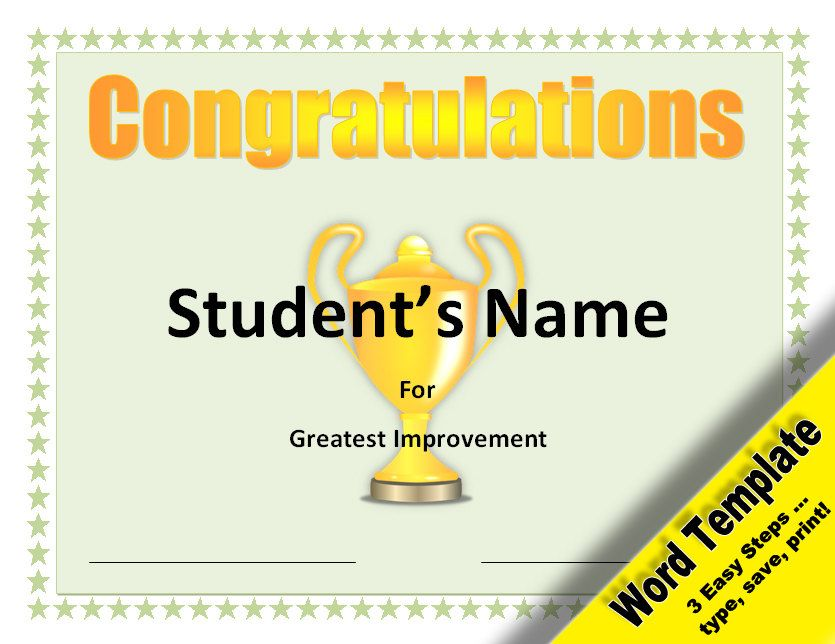 Greatest Improvement Award, Editable Word Template, Printable - award certificates word