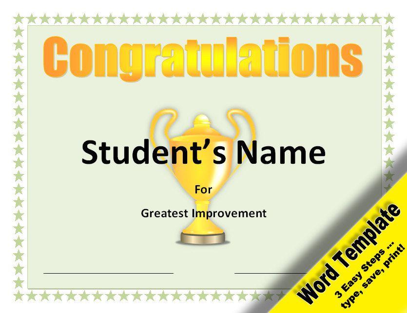 Greatest Improvement Award, Editable Word Template, Printable - fresh stock certificate template pdf